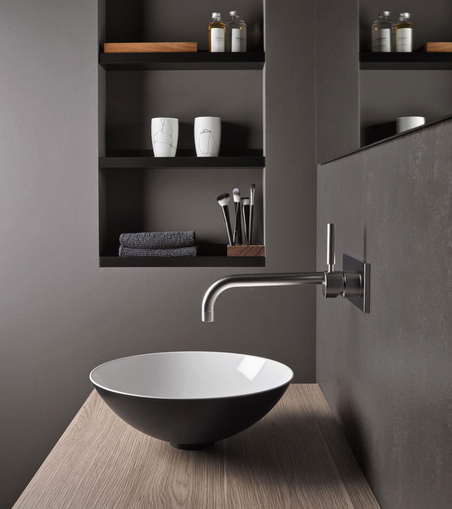 Grey contemporary free standing basin and wall mounted tap
