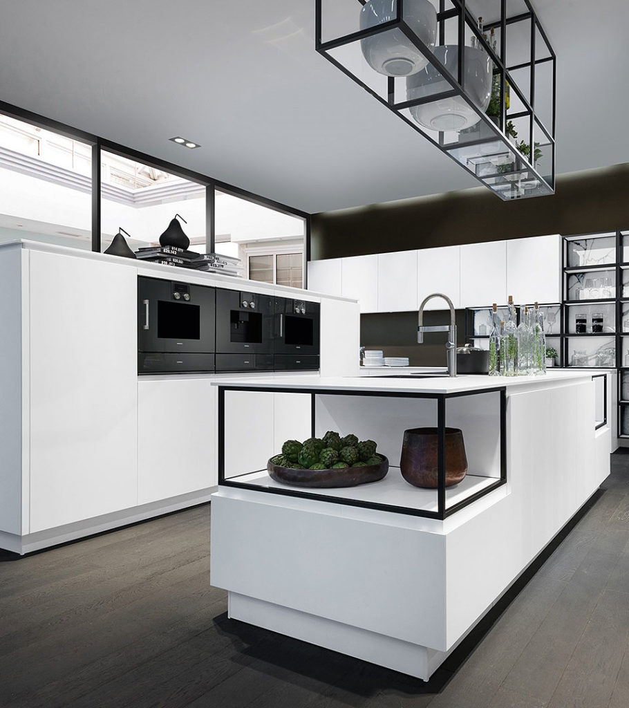 White and black contemporary kitchen design by Pronorm