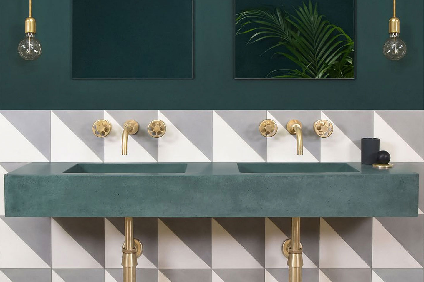 Sienna Forest Green Concrete Basin by Kast
